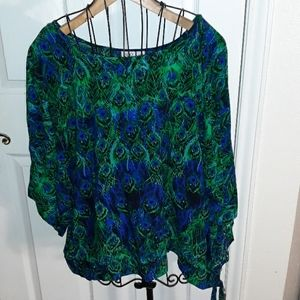 Cato Peacock side tie blouse